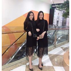 Đầm suông đen phối lai ren