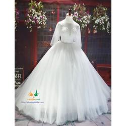 Váy cưới búp bê tùng xòe màu trắng