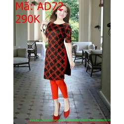 Áo dài nữ cách tân họa tiết caro ô màu đỏ nổi bật AD72