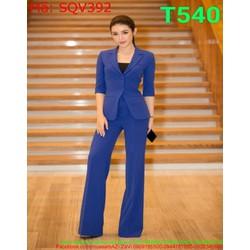 Sét áo vest dài tay và quần ống suông dài màu xanh trẻ trung SQV392