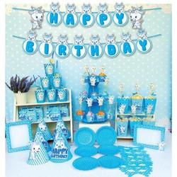 set trang trí sinh nhật trọn gói con dê xanh
