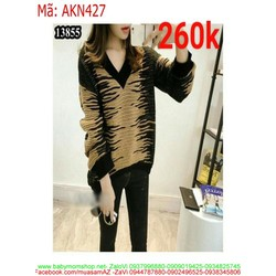 Áo kiểu nữ len dài tay sọc màu ngang nổi bật AKN427