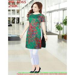 Áo dài nữ cách tân họa tiết màu đỏ nổi bật AD65