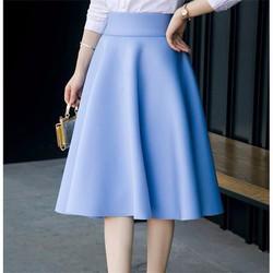 Chân váy xòe midi nhiều màu lưng cao dài qua gối