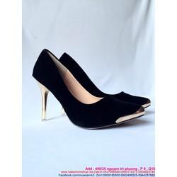 Giày cao gót mũi nhọn đính tag vàng sang trọng sành điệu GCN227