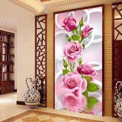 Tranh thêu hoa hồng-68*126 Monalisa chất lượng cao