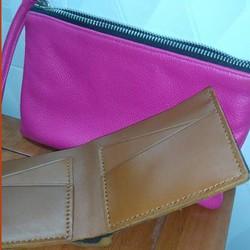 Combo quà tặng ví da nam handmade và ví da nữ hồng xinh đẹp