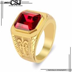 Nhẫn nam thời trang đá đỏ đẹp không đen mẫu