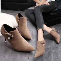 giày boot nữ cao gót nơ GB801
