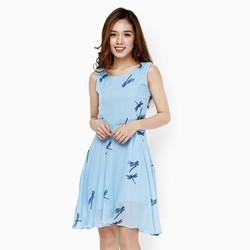 Đầm xòe in hình chuồn chuồn màu xanh size L