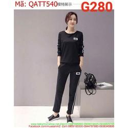 Bộ thể thao nữ dài tay thun cao cấp sọc dọc trẻ trung QATT540