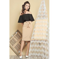 Set áo croptop+chân váy nút