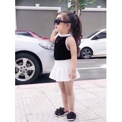 Set áo váy phong cách sành điêu cho bé