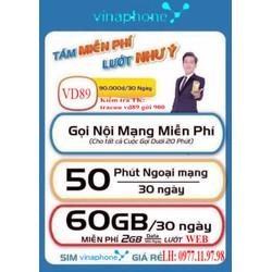 SIm 10 Số Vina GỌi miễn Phí 60GB
