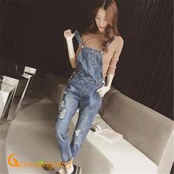 Quần yếm nữ jean denim đẹp cotton mài rách GLQ023 was cũ vải