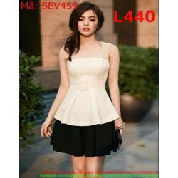 Sét áo kiểu sat nách phối lưới tùng xòe và chân váy xòe SEV459