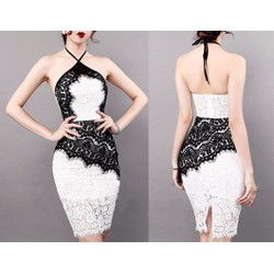 Đầm dự tiệc trắng phối đen thiết kế sang trọng