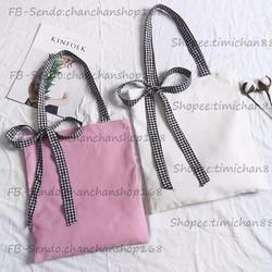 Túi xách nơ caro 4 màu thời trang giá chỉ 89k
