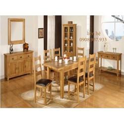 Set bộ bàn ăn 04 ghế gỗ sồi mỹ - hàng  xuất khẩu