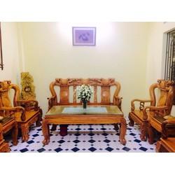 Bộ bàn ghế chạm khắc minh quốc đào gỗ gõ đỏ cột 10