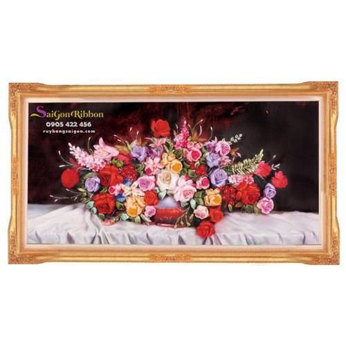Tranh thêu ruy băng hoa hồng