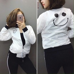 sale off áo khoác nữ mặt cười 2 lớp