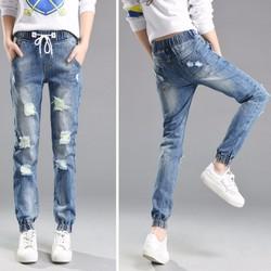 quần jeans jogger nữ rách Mã: QD1609 - XANH NHẠT