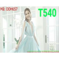 Đầm maxi dài thiết kế cổ V khoét sâu màu xanh trẻ trung DDH657