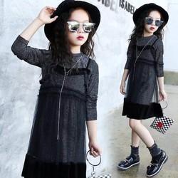 Đầm bé gái thu đông hàng nhập đẹp y hình cho bé diện Halowen
