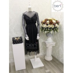 Đầm ren kim tuyến  kèm áo ánh nhũ BERI đen
