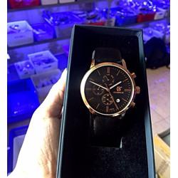 Đồng hồ nam Oubels chính hãng 6 Kim dây da Đen mặt Đen viền Vàng