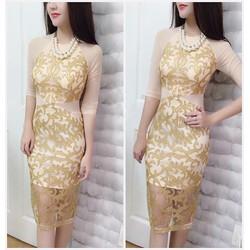 Đầm Ren Kim Tuyến Nhũ Phối Lưới Cao Cấp - Be