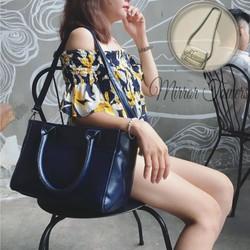 Túi xách nữ A4 giá rẻ màu xanh đậm phiên bản rộng cực phong cách