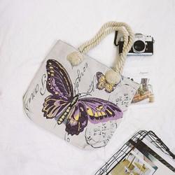 Túi Vintage bướm vải bố có khóa kéo_B6411_Hàng Nhập