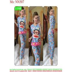 Đồ bộ mặc nhà dài tay hình chú khỉ paul đáng yêu NN507