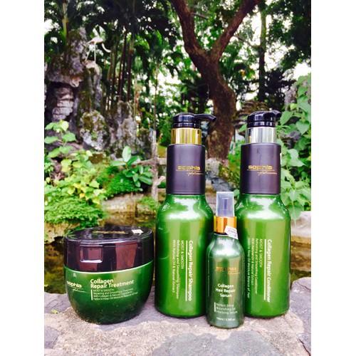 Bộ 4 sản phẩm gội, xả, hấp dầu, tinh dầu collagen sophia