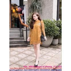 Đầm suông công sở dài tay ren hoa nổi lót trong sành điệu DSV140