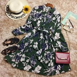 Đầm sơ mi hoa vintage