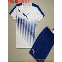 Sét thể thao nam áo ngắn tay phối quần short logo con báo BQAN116
