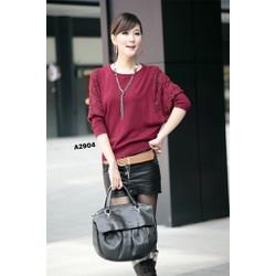 Áo len dệt kim nữ cánh dơi cổ tròn, tay phối ren thời trang-A2904