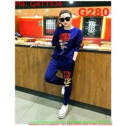 Bộ thể thao nữ dài tay hình hoa hồng dễ thương QATT536