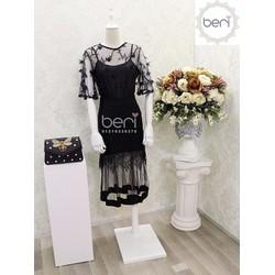 Set Áo ren hoa 3D + Chân váy  đuôi cá BERI đen