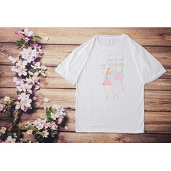 Áo thun tay lỡ thiết kế đơn giản in hình cô gái