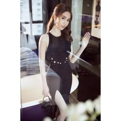 Đầm đen xẻ tà Ngọc Trinh thiết kế ôm body tuyệt đẹp