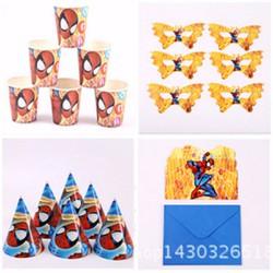 trang trí sinh nhật cho bé, bộ phụ kiện sinh nhật 16 món spiderman