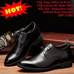Giày Tây Tăng Chiều Cao 6Cm - Da Bò Sang Trọng, Lịch Lãm, Đẳng Cấp
