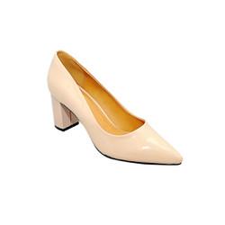 Giày nữ cao gót 7cm da tổng hợp màu kem
