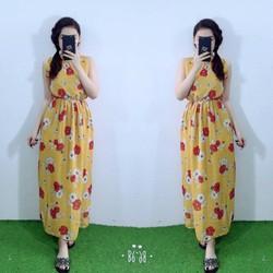Đầm Maxi Voan Hoa Cổ Yếm Hot