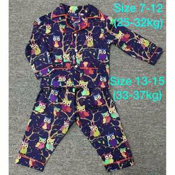 Bộ pijama kate bé trai bé gái-hình cú 29kg