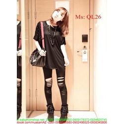 Quần legging nữ rách gối chất liệu thun co giãn tốt QL26